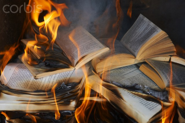 Books burning in fire --- Image by © Ghislain & Marie David de Lossy/cultura/Corbis